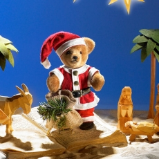 Miniatur Steh-Bär Santa 14 cm Teddybär von Hermann-Coburg