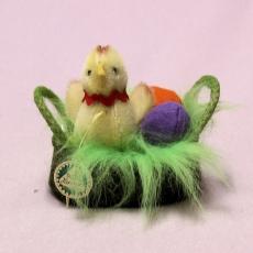 Anni - miniature mohair baby chicken in a basket 8 cm Teddy Bear by Hermann-Coburg