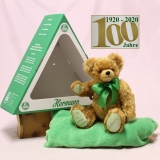 Der Bär im grünen Dreieck (Mohairfarbe messing-braun) 34 cm Teddy Bear by Hermann-Coburg